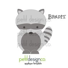 Bandit Applique Template  Free Shipping by PetitDesignCo on Etsy, $1.60
