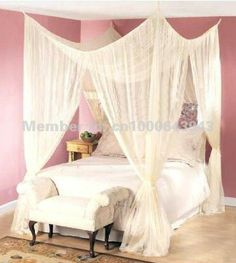 Aliexpress.com : Buy 4 POST BED CANOPY FOUR CORNER POINT BUG INSECT MOSQUITO NET FLY NETTING MESH BEDS CANAPY QUEEN KING SIZE BEDROOM CURTAIN DREAMMA from Reliable curtains green suppliers on UnlimitedQuantityCom $28.99