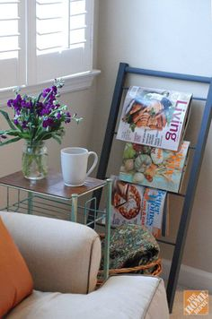 Clear up the clutter in your living room with this DIY magazine rack.