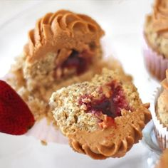 Healthy Peanut Butter & Jelly Cupcakes - secretly gluten free, sugar free and vegan!
