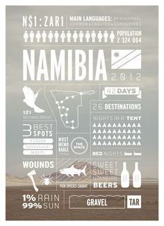Effective with image in background and white silhouette over top // Namibia travel infographics Southern Africa travel infographics