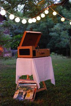 ceremoni idea, outdoor record player, summer gardens, old records, vinyl, backyard parties, outdoor parties, garden parties, light