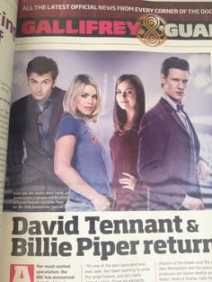 DAVID TENNANT AND BILLIE PIPER ARE RETURNING TO DOCTOR WHO!!!!!   *goes into cardiac arrest*  I actually sqeed a bit when I saw this, I apologize to anyone watching with me tonight I may freak out....constantly...