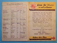 WW2 Ministry of Food Year Long Garden Chart