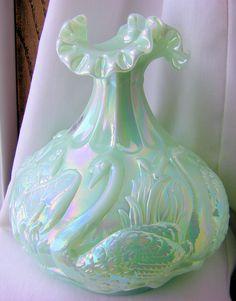 Fenton Sea Green Satin Swan Vase