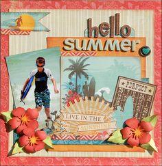 #scrapbook #summer #beach Hello Summer - Two Peas in a Bucket, scrapbook layout, Echo Park Paradise Beach collection