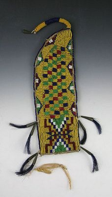Awl Cases and Knife Sheaths - Crow Beaded Knife Sheath