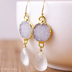 Soft Mauve Druzy and Aqua Chalcedony Earrings - Summer Earrings - Casual, Sparkly