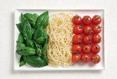 italian food and flag