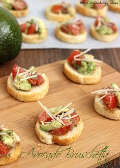 Avocado Bruschetta.  Bruschetta that adds the rich and creamy taste of avocados to create a delicious appetizer.  #avocado #bruschetta #AvoAllStars #spon