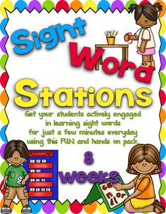 Sharing Kindergarten- 8 weeks worth of sight word stations- 14 stations per week... prep time is easy!
