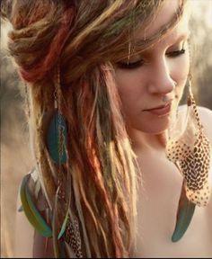 hippie, dreadlocks, colors, long hair, beauti, hairstyl, beauty, boho, feathers