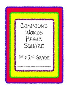 $1.50 --- Magic Square puzzle to practice compound words --- three puzzles with 12 words each