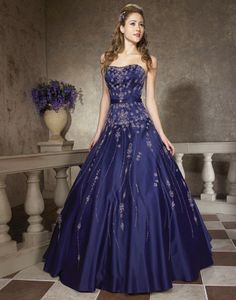 Deep Navy Strapless Gown