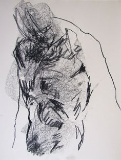 gesture figure drawing - from life - Drawing 55 - conte on paper - original drawing