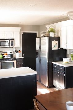 Black and white cabinets.