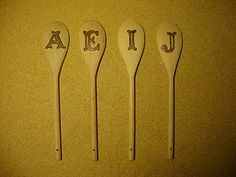 """Idea!!  Burn flowers on wooden spoons to make a """"garden"""". pyrographi woodburn, garden, wooden spoons"""