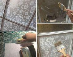 DIY Lace Window Treatment With Cornflour