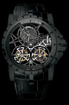 Excalibur Skeleton Double Flying Tourbillon in black titanium, Roger #Dubuis #watch.
