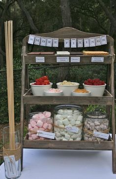 smores fixins station! (plus more camping/outdoorsie themed wedding food.)