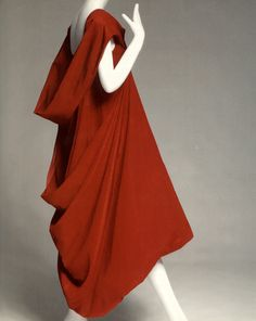 Rei Kawakubo for Comme des Garcons Red Silk Taffeta, SS 1991