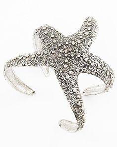 Starfish Cuff $28. Summer Fashion. Summer Jewelry. Cuff. Starfish. Silver Cuff. Trendy jewelry. Beautiful jewelry.