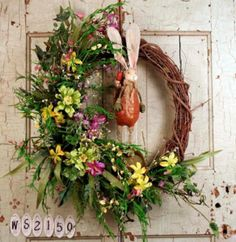 Country Bunny Silk Wreath For Doors