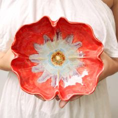 Red Poppy Bowl ceramic bowl handmade pottery with Ice by MarciG, $29.00