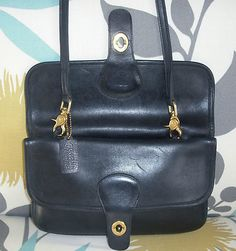 Coach Double Sided New York City NYC Vintage Black Leather Clutch Shoudler Bag