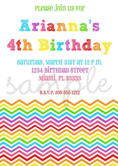 Rainbow Birthday Invitation by invitesxo on Etsy, $12.00
