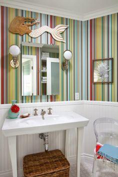 Red White Turquoise Bathroom: Brittney Nielsen Interior Design
