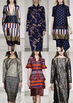 Suno A/W 2014/15-Bold Graphic Vertical Stripes – Varied Stripe Scales – Horizontal and Vertical Mixes – Oriental Paisleys – Deep Borders – Opulent Fabrics – Maze Swirls – Felt Tip Marked Pattern – Lurex Details – Raised Jacquard