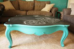 DIY on the cheap. Old coffee table turned into a chic chalkboard table!