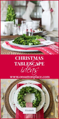Small boxwood wreath in a Christmas tablescape