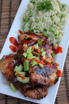 Sticky Pork Chops & Pea Parm Pilaf