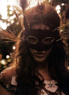 Feather mask.