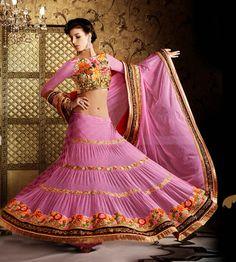 USD 149.21 Pink Net Resham Work Wedding Lehenga Saree   33708