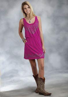 Roper® Women's Pink Screen Print Jersey Blouson Dress