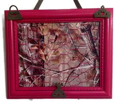 Upcycled framed chicken wire Hot Pink and by CreativeDesignsUpcyc, $30.00