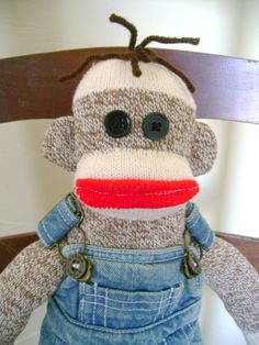 Elmer the Country Sock Monkey by DeedleDeeCreations on Etsy, $25.00