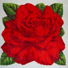// red rose vintage hankie