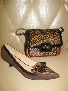 Luz Da Lua brown/leopard print kitten heel and leopard print over-the-shoulder bag