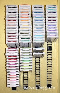 The Crafty Blog Stalker: My Craft Room & DIY Ink Pad Storage  These are Media Stix (intended to hold CDs or DVDs) and can be found at Target for about $12.