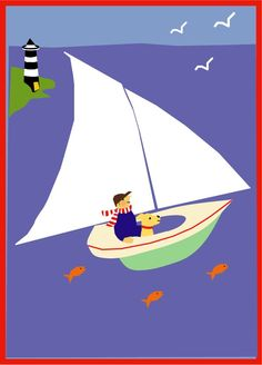 8 x 10 inch print boy and lab in sail boat matted in by LizzyClara