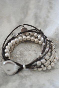 Summer bracelets. leather wrap bracelets, bead, style, bangl, accessori, silver bracelets, simple silver jewelry, jewelri, leather bracelets