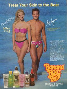 CHRISTY FICHTNER  &  GREG  LOUGANIS FOR BANANA  BOAT ADVERTISEMENT 1989