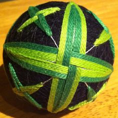 Back side of my second completed Tamari ball.  The front side represents flower petals, the back side leaves.