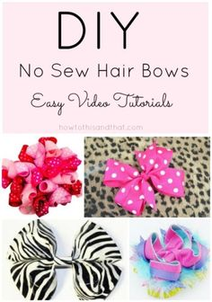 How To Make Easy No Sew Hair #Bows- DIY Video Tutorials