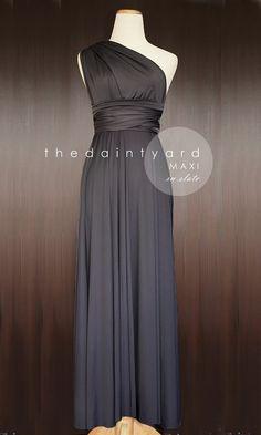 Floor Length Gray Bridesmaid Convertible Dress Infinity Dress Multiway Wrap Dress Prom Maxi Long Dress Dark Grey Slate Charcoal on Etsy, $48.00