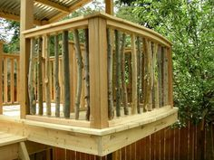 love this natural rail idea for a kids tree house